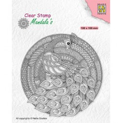 (CSMAN004)Nellie's Choice Clear stamps Mandala Peacock