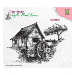 (IFS028)Nellie`s Choice Clearstamp - Idyllic Floral Scenes Water-mill