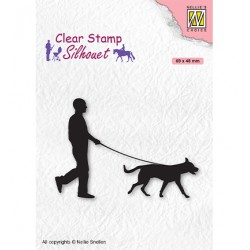 (SIL070)Nellie`s Choice Clearstamp - Silhouette Men-things Man with dog
