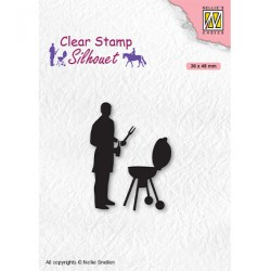 (SIL071)Nellie`s Choice Clearstamp - Silhouette Men-things Barbecue