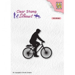 (SIL072)Nellie`s Choice Clearstamp - Silhouette Men-things Cyclist
