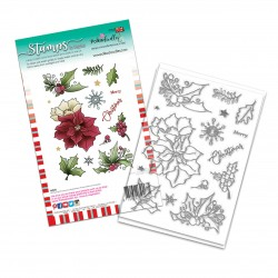 (PD8093A)Polkadoodles Merry Christmas Poinsettia Clear Stamps