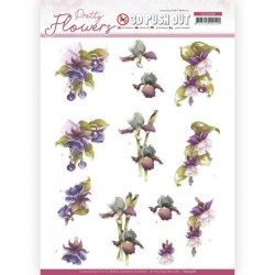 (SB10498)3D Push Out - Precious Marieke - Pretty Flowers - Purple Flowers
