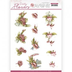 (SB10499)3D Push Out - Precious Marieke - Pretty Flowers - Red Flowers