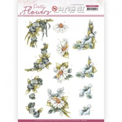 (SB10500)3D Push Out - Precious Marieke - Pretty Flowers - Blue Flowers