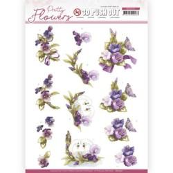 (SB10501)3D Push Out - Precious Marieke - Pretty Flowers - Flowers and Swan