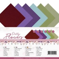 (PM-A5-10027)Linen Cardstock Pack - A5 - Precious Marieke - Pretty Flowers
