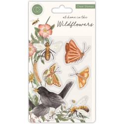 (CCSTMP037)Craft Consortium At Home in the Wildflowers Clear Stamps Bees & Butterflies