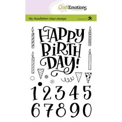 (2206)CraftEmotions clearstamps A6 - handletter - Happy Brithday & numbers (Eng) Carla Kamphuis