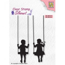 (SIL076)Nellie`s Choice Clearstamp - Silhouette Boy & girl swiging