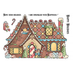 (LDRS3276)LDRS Creative Gingerbread House Set 4x6 Inch Clear Stamps