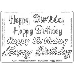 (TP3622E)PCA-UK® - EasyEmboss Big Outlines Happy Birthday