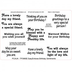 (TP3990E)PCA-UK® - EasyEmboss Birthday Sentiments
