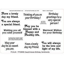 (TP3990E)PCA-UK® - EasyEmboss Birthday Sentiments