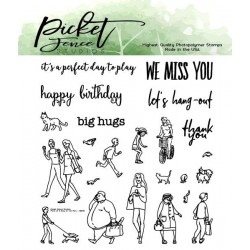 (BB-138)Picket Fence Studios More for A Walk in the Park 4x4 Inch Clear Stamps