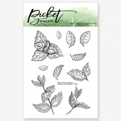 (F-142)Picket Fence Studios Leaves for Flowers 3x4 Inch Clear Stamps