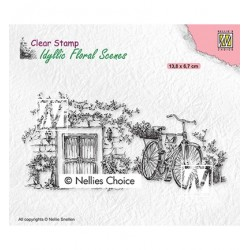 (IFS033Nellie`s Choice Clearstamp - Idyllic Floral Old door with bike