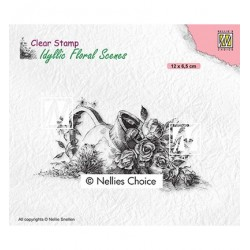 (IFS034)Nellie`s Choice Clearstamp - Idyllic Floral Vase with roses
