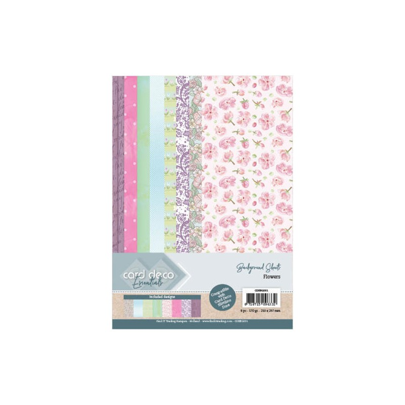 (CDEBG001)Card Deco Essentials Back Ground Sheets - Flowers