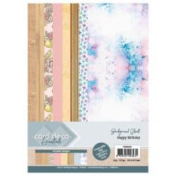 (CDEBG002)Card Deco Essentials Back Ground Sheets - Happy Birthday