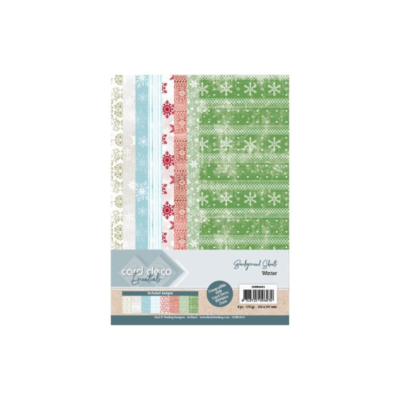 (CDEBG003)Card Deco Essentials Back Ground Sheets - Winter