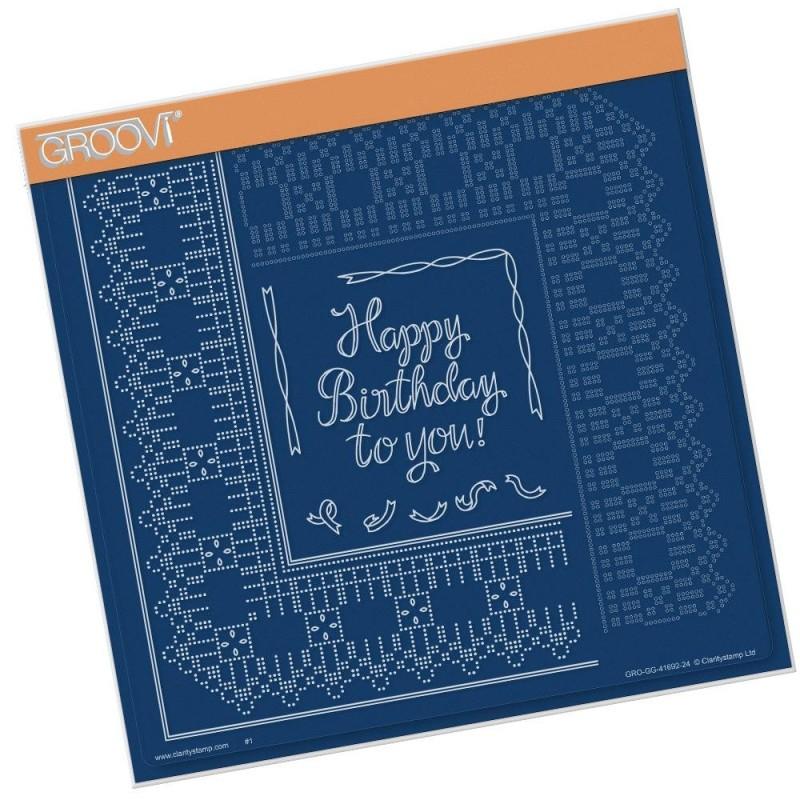 (GRO-GG-41692-24)Groovi Plate A4 PIERCING GRID BIRTHDAY RIBBON LACE DUET
