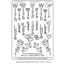"""(TP3300E)EMBOSSING Easy Emboss """"With Love"""" Vertical Outlines - F"""