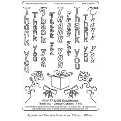 "(TP3299E)EMBOSSING Easy Emboss ""Thank You"" Vertical Outlines - F"
