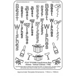 "(TP3298E)EMBOSSING Easy Emboss ""Best Wishes"" Vertical Outlines -"