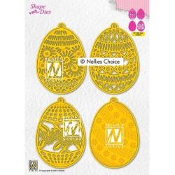 (SD189)Nellie's Shape Dies 4 Easter eggs