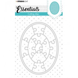 (STENCILSL386)Studio Light Cutting and Embossing Die Small shape oval puzzle Essentials nr.386