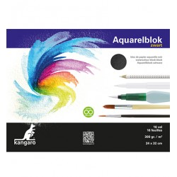 (K-5312)Watercolour block black 24X32 cm 16 sheets 300 grs black
