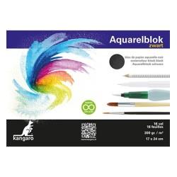 (K-5311)Kangaro Watercolour block black 17 X 24 cm 16 sheets 300 grs black