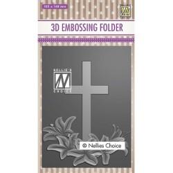 (EF3D019)Nellie's Choice Embossing folder Cross 2