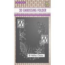 (EF3D020)Nellie's Choice Embossing folder Flower frame