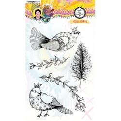 (STAMPBM64)Studio light Clear Stamp, Sweet birdie Marlene's World nr.64