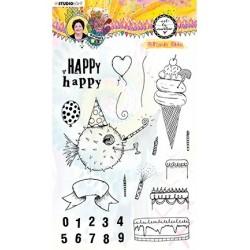 (STAMPBM67)Studio light Clear Stamp, Birthday bash Marlene's World nr.67