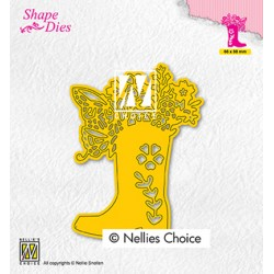 (SD198)Nellie's shape dies Boot with flowers
