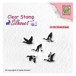 (SIL081)Nellie`s Choice Clearstamp - Flying birds