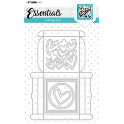 (STENCILSL394)Studio Light Cutting and Embossing Die Giftbox Multi Merci Essentials nr.394