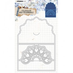 (STENCILCNB378)Studio Light Cutting and Embossing Die Cardshape Celebrate new beginnings nr.378