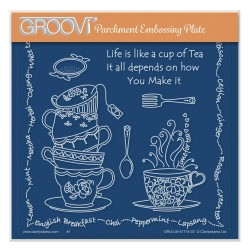 (GRO-LW-41714-03)Groovi Plate A5 LINDA WILLIAMS' LIFE IS A CUP OF TEA
