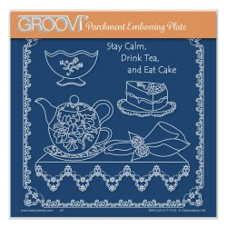 (GRO-LW-41717-03)Groovi Plate A5 LINDA WILLIAMS' STAY CALM & DRINK TEA