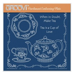 (GRO-LW-41719-03)Groovi Plate A5 LINDA WILLIAMS' WHEN IN DOUBT MAKE TEA