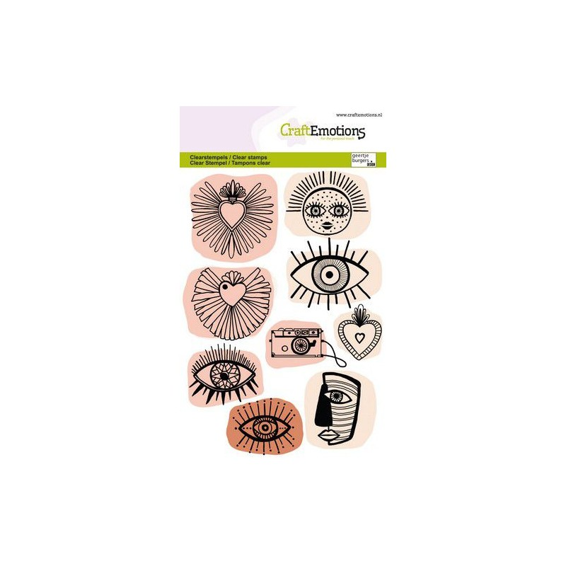 (1343)CraftEmotions clearstamps A6 - Trendy iconen