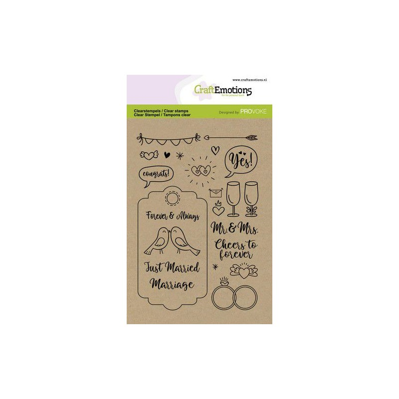 (2503)CraftEmotions clearstamps A6 - Wedding (Eng)