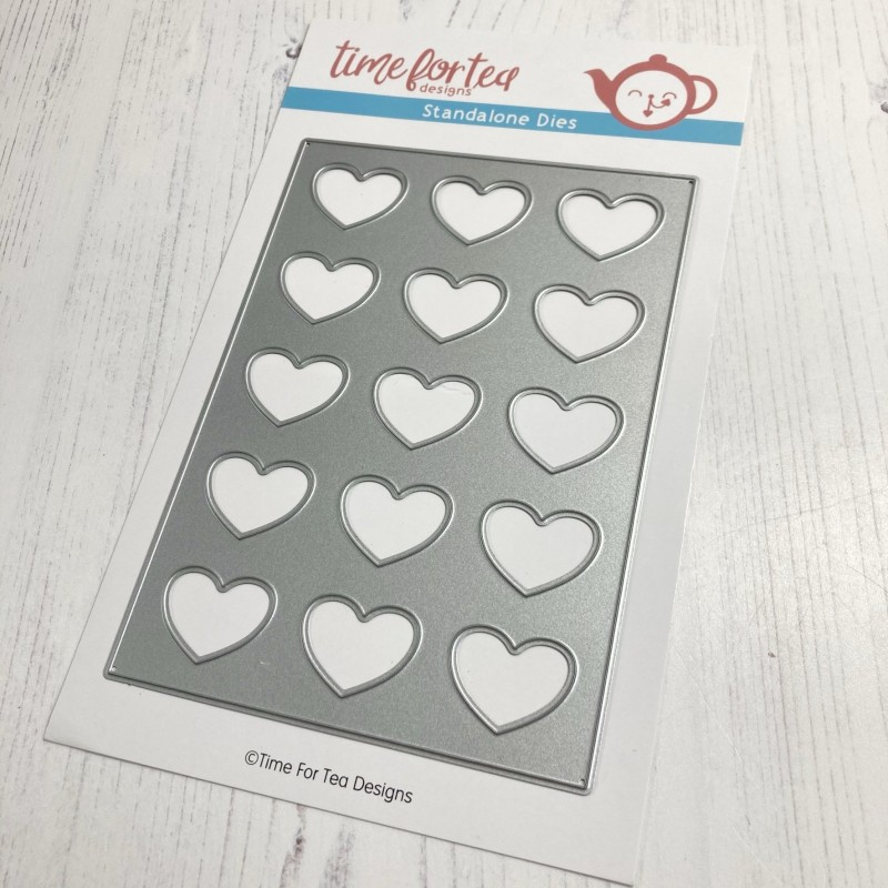 (T4T/593/A6L/Sta)Time For Tea Lots of Love Vertical A6 Cover Plate Metal Dies