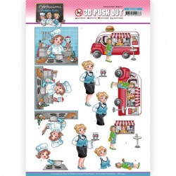 (SB10547)3D Push Out - Yvonne Creations - Bubbly Girls Proffesions - Catering