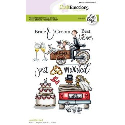(1699)CraftEmotions clearstamps A6 - Just Married (Eng) Carla Creaties
