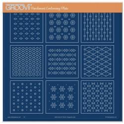 (GRO-GG-41733-24)Groovi Plate A4 JOSIE'S DIAGONAL EMBOSSED PATTERN